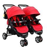 Zwillings-Spaziergänger, abnehmbares faltendes Dreirad, Kohlenstoffstahl-Körper, Superstoßdämpfer ( Color : Red )