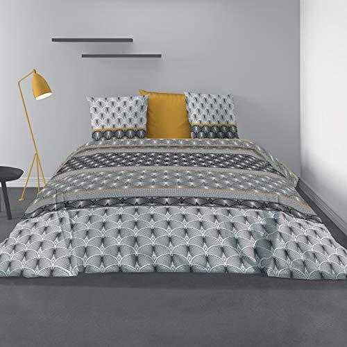 Les Ateliers du Linge - Parure de lit - Housse de Couette - House de Couette 220 x 240 - Parure de lit 100% Coton - Parure de lit avec Housse de Couette - Taies d'oreiller- 240 x 220 cm - Saky Gold