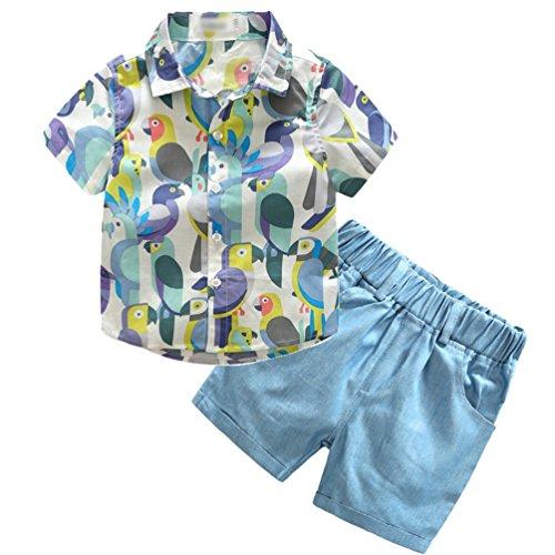 Bekleidungsset Formal Papagei Musterdruck Hemden Tops + Kurze Hosen Kinder Mode T-Shirt und Shorts Outfits Hellblau 140 (Minion Outfit Für Baby)