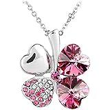 Le Premium® Vier Blatt Klee Halskette MADE WITH SWAROVSKI® ELEMENTS herzförmigen Swarovski rosa kristalle