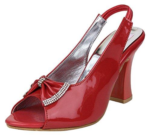 Digni stiletto dames du parti de femmes portent des talons peep toe pompes Rouge