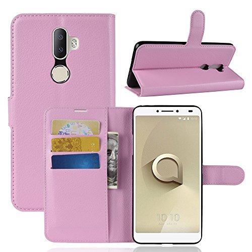 Kihying Hülle für Alcatel 3V Hülle Schutzhülle PU Leder Flip Wallet Fashion Geschäft HandyHülle (Pink - JFC08)