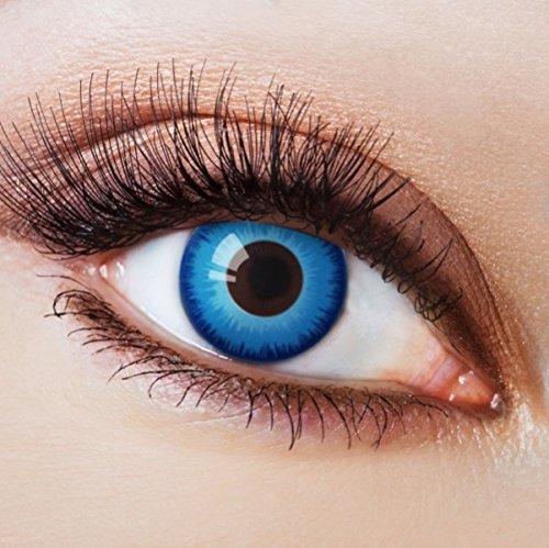 Farbige Kontaktlinsen Blau Ohne Stärke Blaue Crazy Jahreslinsen Motiv-Linsen Farbig Halloween Karneval Fasching Cosplay Kostüm Blue mit Rand Türkis intensiv