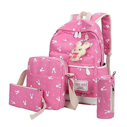 TPulling Frauen-Art- und Weisehandtaschen 4 Sätze der Kaninchen-Dame-Schulterbeutel-Schulterbeutel-Handtaschenmappe Pink