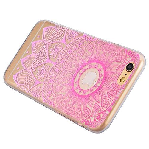 SMART LEGEND iPhone 6 Plus iPhone 6S Plus Weiche Silikon Hülle Bumper Schutzhülle Transparent Hülle mit Mandala Blumen Muster Handyhülle Crystal Schutzhülle Kirstall Clear Etui Ultra Slim Durchsichtig Rosa