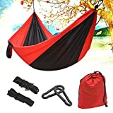 Giwox Outdoor Portable Hammock - Parachute Nylon Hammock 2 Person with Carabiners, Tree Straps & Ropes for Backyard Hiking Camping Beach Travel (Black + Red)