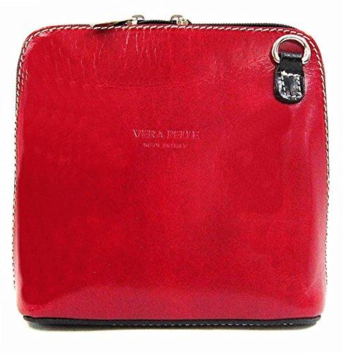 Vera Pelle italiana di borsa a tracolla da donna Multicolore (Red with Black contrast)