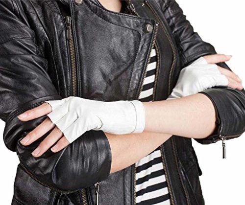 GQQgloves Hommes et femmes du doigt semi cuir basane gants Hip-Hop Catwalk noir blanc rouge brun white