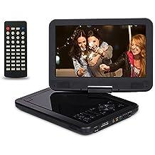 CREATESTAR 10.5'' Reproductor de DVD Portátil para el Coche Reproductor DVD con Pantalla Giratoria Soporta Tarjeta SD /USB /CD /DVD Batería Recargable con Mando a Distancia, Negro