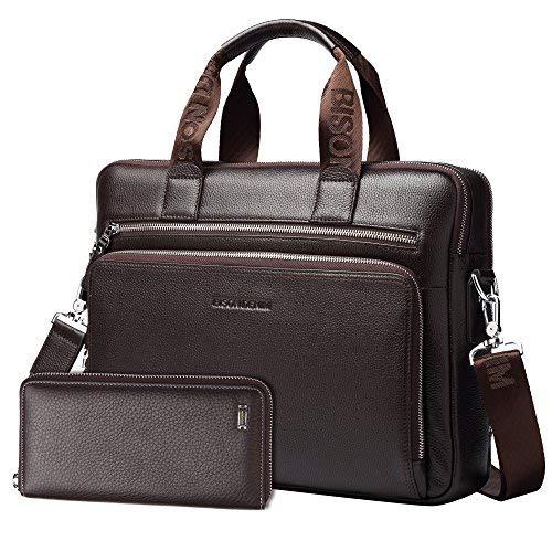 BISON DENIM Herren klassische echtes Leder Aktenkoffer Laptop Schulter Messenger Bag Business Tote (Coffee[2PCS])