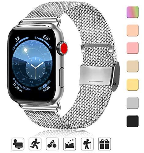 AK kompatibel mit Apple Watch Armband 38mm 40mm 42mm 44mm, Metall Edelstahl Ersatzarmband kompatibel mit iWatch Series 5/4/3/2/1 (01 Silber, 38mm/40mm)
