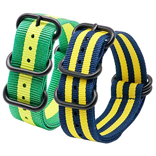 Autulet 22mm Herren Nylon ArmbänderHerren Grün, Gelb, Blau, Gelb + 2 Stück -