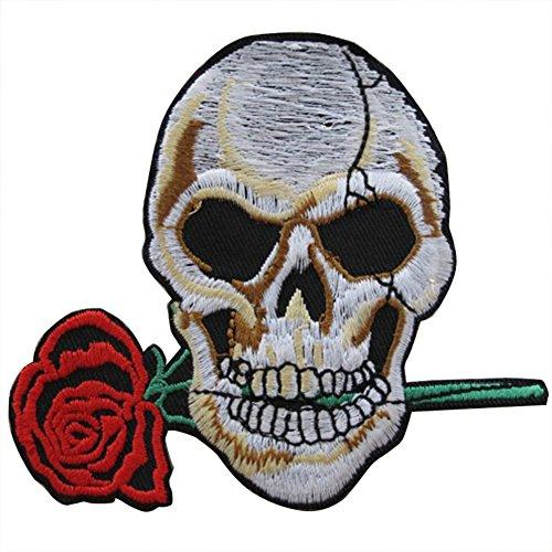 Wimagic - 1 Parche de Calavera de Flor de Estilo Punk para...