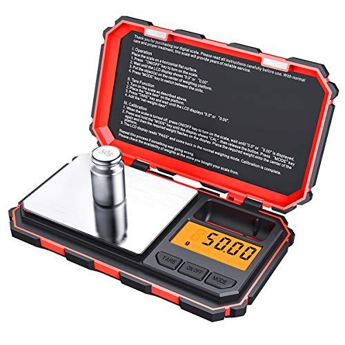 Brifit Balance de Précision, 200g/0.01g, 50g de Poids D'étalonnage, Balance de Precision 0.01g, Balance de Poche avec Écran LCD, avec Fonction de Tare, Acier Inoxydable (Batterie Incluse)(Rouge)