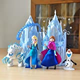 #4: Frozen Princess with Throne and Castle and Characters Action Figure Toys (6pcs Set - Cake Topper) - Smart Buy