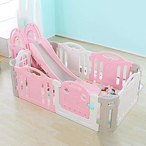 Baby playpen Portable with Slides,Kids Play Yard Safety Game Fence Indoor Children's Play Fence (color : Powder white)  Sugar-Bai