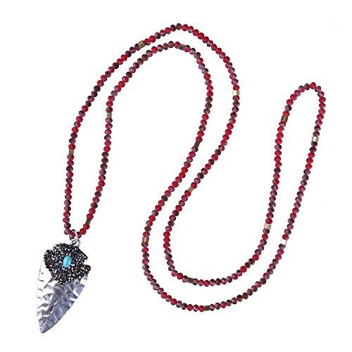 KELITCH Rot Kristall Perlen Lange Halskette Handmade Silver Pfeilspitze Anhänger Halskette (Rot) (Rote Halskette Pfeilspitze)