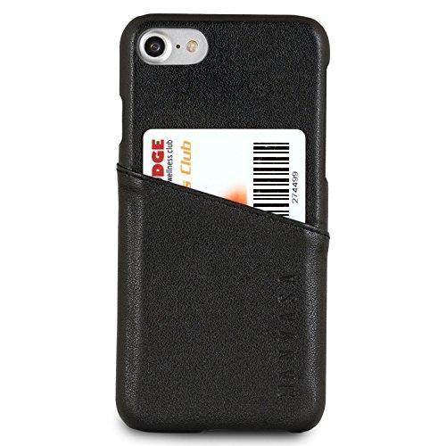 """Coque iPhone 8 / Coque iPhone 7 Cuir Noir - KANVASA """"Cards"""" Housse Arrière Portefeuille en Vrai Cuir Haut de Gamme pour l'iPhone 8 & 7 Original d'Apple (4,7"""") - Étui Ultra Mince avec Porte Cartes Noir iPhone 8 & 7"""
