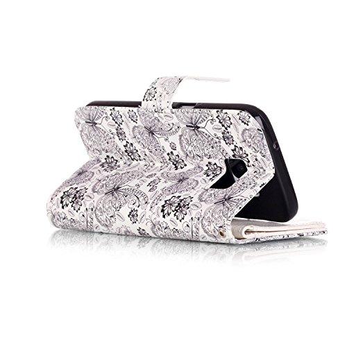 Hülle für Samsung Galaxy S7 Schmetterling,TOCASO Glitter Strass Bling Ledertasche Muster Weich PU Schutzhülle für Samsung Galaxy S7 Flip Cover Wallet Case Tasche Handyhülle mit Lanyard Strap Stand Fun #6#