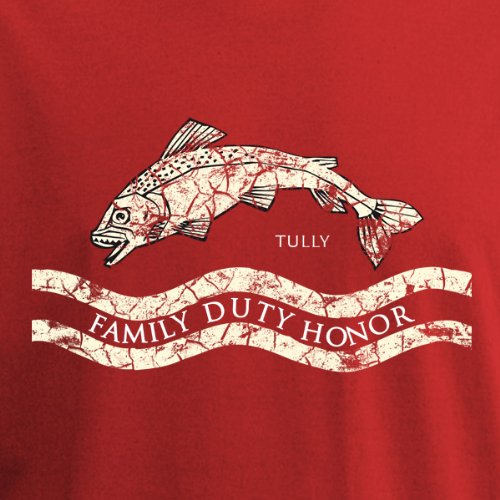 Game of Thrones - House Tully Wappen T-Shirt, großes Frontmotiv, Baumwolle Rot