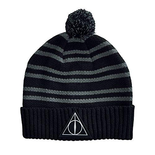 Harry Potter Mütze Deathly Hallows Symbol Strick mit Bommel Elbenwald schwarz
