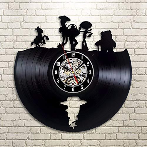 ganjue Histoire De Jouet Creux LED Vinyle Murale Record Clock LP Record Gravé Gravé Horloge Murale 3D Horloge Cut-Out Shadow Art Mur Cadeau pour Enfants-LED with 7Colors