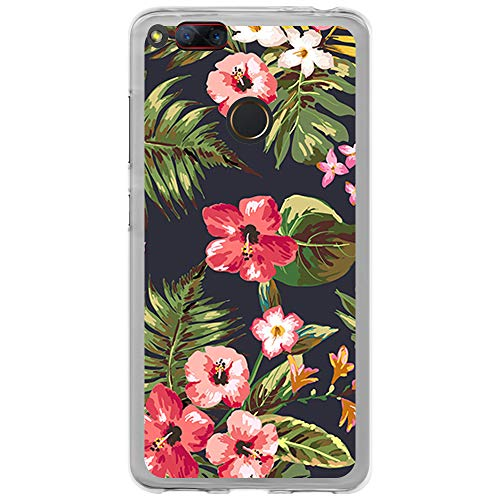 BJJ SHOP Transparent Hülle für [ ZTE Nubia Z17 Mini ], Klar Flexible Silikonhülle, Design: Exotische Blumen auf blauem Hintergr&