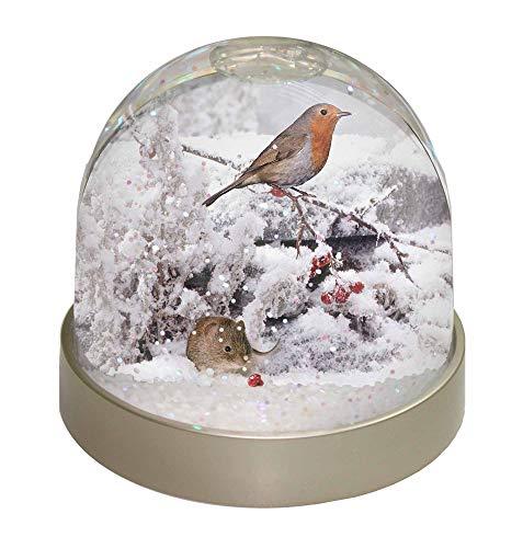Advanta Schneekugel mit Maus und Rotkehlchen, Mehrfarbig, 9,2 x 9,2 x 8 cm
