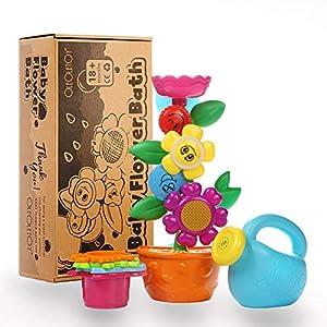 OleOletOy Baby Badespielzeug Set – Süße Blume Wassermühle und 4 STK. Stapelbecher – Kinder BPA Frei Spielzeug mit Saugnapf für die Badewanne