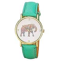 Bluester Watch,New Women Elephant Printing Pattern Weaved Leather Quartz Dial Watch (Green)