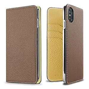 BONAVENTURA Leder Wallet-Hülle [iPhone XS/X, Etoupe & Yellow]