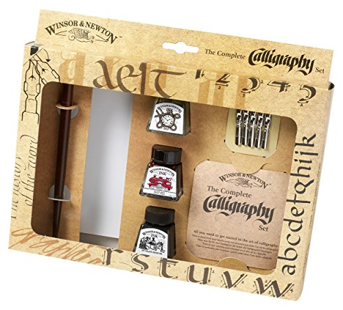 Winsor & Newton 1190190 Kalligraphie Set (3 Flaschen a 14 ml in schwarz, tiefrot und gold, 1 Dip Pen, 5 Kalligraphie-Spitzen, 1 Block A5 Cartridge Papier) (Dip-pen-drawing)