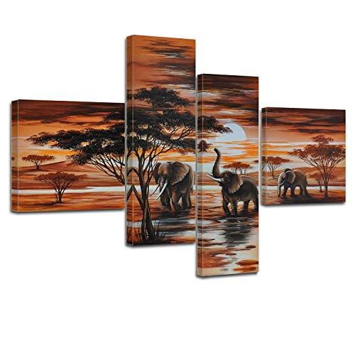 Bilderdepot24 Kunstdruck von Elefanten M1 - P210-100x70cm - 4teilig preisgünstig und stilsicher