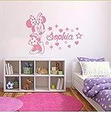 Yangll Wandaufkleber Kinderzimmer Minnie Mouse Wandtattoo Personalisierte Baby Name Wandaufkleber Kinderzimmer Baby Zimmer Minnie Mouse Vinyl Kunst 57X42 Cm