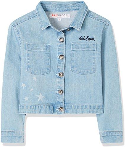 RED WAGON Mädchen Kurze Jeansjacke mit Bestickung und Prints, Blau (Blue), 104 (Herstellergröße: 4 Jahre)
