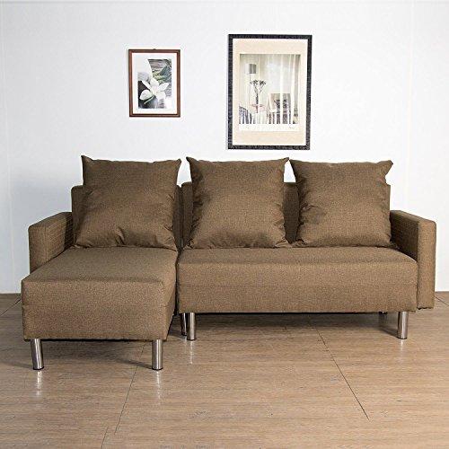 Cozime Sofá Cama de Esquina de Tela reclinable 2 en 1 en Forma de L sofá esquinero DE 3/4 plazas Sofabed-Brown