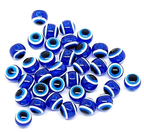 HOUSWEETY 100PCs Dark Blue Evil Eye Stripe Round Resin Beads 10mm -Jewellery Making Findings,DIY Crafts