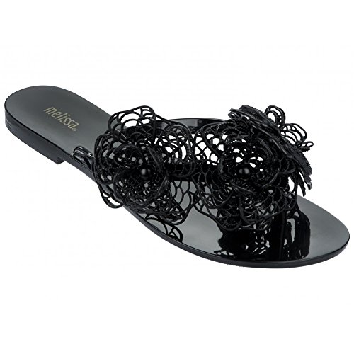 Melissa Shoes Harmonic Garden Flower Flip Flop, Black A 38 Black