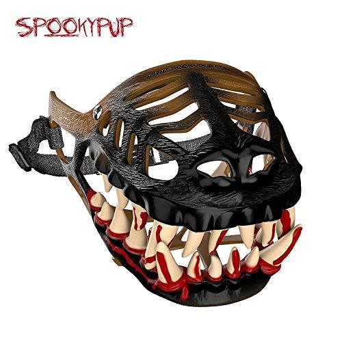 Realistische Scary Kostüm - SpookyPup Komisch Hund Kostüm Maulkorb mit Großen Scary Zähne-Get Your Hund zu Join The Fun, X-Large, Braun