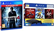 PS4 1TB Slim Bundled with Spider-Man, GTaSport, Ratchet & Clank And PSN 3Month&Uncharted 4: A Thief