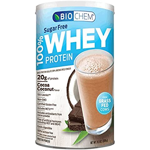 Country Life - Biochem Sugar - 100% WHEY Protein - COCOA COCONUT - Sugar Free - 20g of Protein by Country