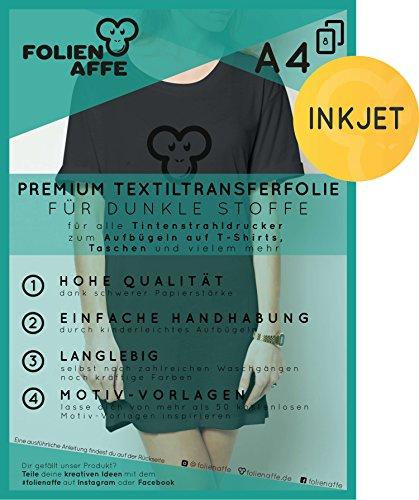 8 Blatt Premium A4 T-Shirt Transferfolie für DUNKLE UND FARBIGE Textilien/Stoffe zum Aufbügeln - inkl. 50+ GRATIS Motiv-Vorlagen - Transferpapier geeignet für alle Inkjet Tintenstrahldrucker