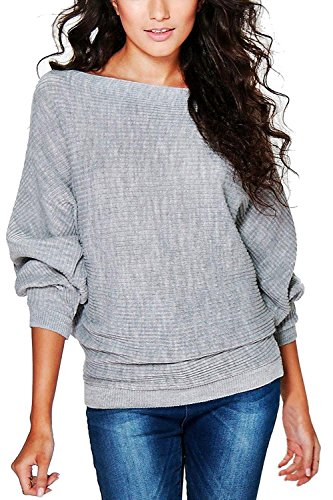 Yidarton Damen Pullover Oversized Rippe Knitted Batwing Baggy Jumper Top Strickjacken (M, Grau)