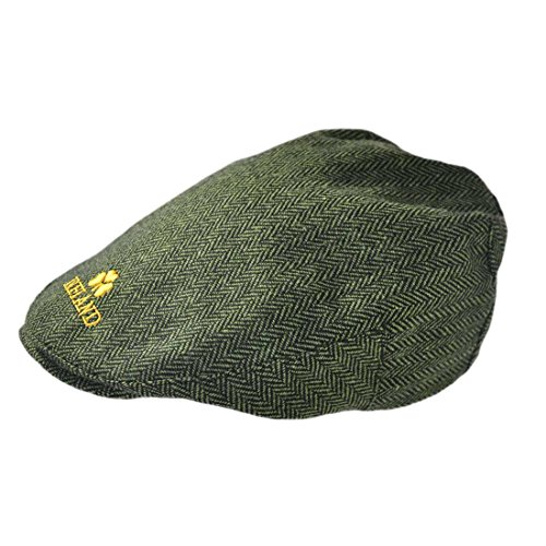 Grüne Tweed Mütze mit gelbem Irland Emblem