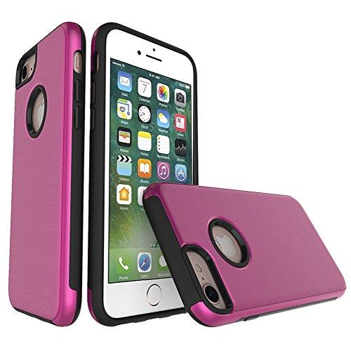 Für Apple IPhone 6 & 6s Plus Case, gebürstet Metallic Finish Back Cover Dual Layer 2 In 1 Hybrid Hard PC Soft TPU Stoßdämpfer Stoßfeste Gehäuseabdeckung ( Color : Black ) Rose