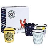 Folklore Emaille-Becher mit Jahreszeitenmotiven, mit dunkelblauem Rand, mehrfarbig, 4-teiliges Set