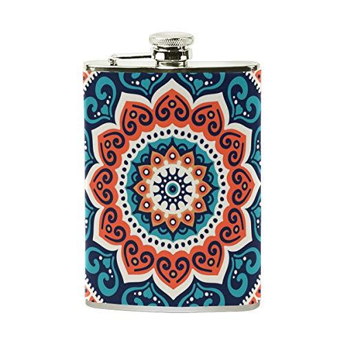 TIZORAX - Petaca de acero inoxidable con diseño étnico de Hippie Henna Mandala, bandera de bolsillo, para acampada, regalo para hombres o mujeres, 8 oz