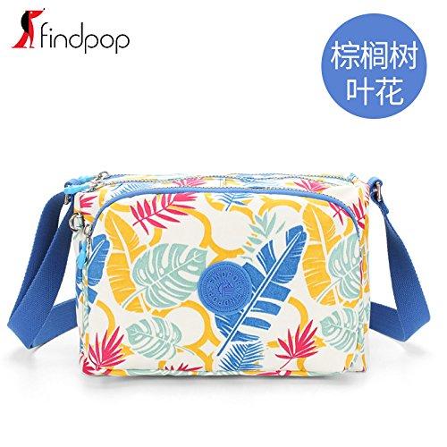 Zazero Canvas Tasche drucken Messenger 2018 weibliche neue Mama bag Wasserdichte nylon tasche Freizeit Tourismus, Palm Leaf Blume