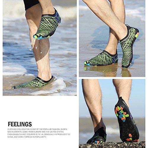 SAGUARO® Sommer Strand Badeschuhe Schlüpfen Schnell trocknend Schwimmen Aquaschuhe Mesh Slip on Wasserschuhe für Damen Herren Grün
