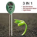 Soil PH Mètre, 3 en 1 Kit de test du sol pour l'humidité, lumière et pH, un Must Have pour outils de jardinage, Pelouse, Ferme, les plantes et les herbes, l'intérieur et l'extérieur du sol testeur avec (pas de batterie Nécessaire)